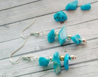 Turquoise Earrings, Boho Earrings, Shell Chip Earrings, Inspiration Earrings, Dangle Earrings, Gift For Her, Blue Earrings, Valentines Gift
