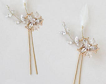 Bridal Hair Flower Wedding Hair Pins Accessories Headpiece Hair Jewelry Flower Embellished Cocktail Accessory