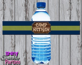 CAMPING WATER Bottle LABELS, Camping Water Bottle Wraps, Camping Water Bottle Wrappers, Water Labels, Camp In, Rustic, Outdoors, Sleepover