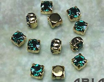 EMERALD: Swarovski SS29 6.5mm 17704 Xilion Gold Plated Two Hole Sew-On Slider Bead Component (12)