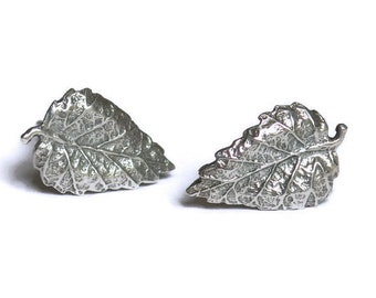 Leaf Stud Earrings, Silver Leaf Earrings, Leaf Studs, Silver Stud Earings, Leaf Jewelry, Sterling Silver Earrings, Minimalist Stud Earrings