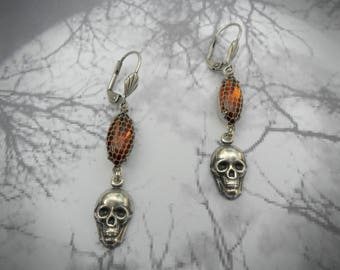 Antique silver skull earrings, unique vintage netted smoky topaz navettes, silver and reddish brown, detailed skull stampings, edgy earrings
