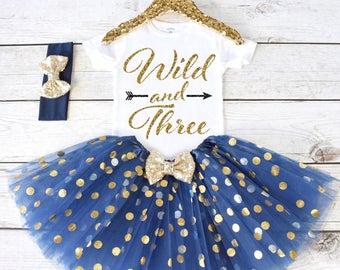 Wild and Three. CUSTOM AGE. Girls Birthday Outfit. Birthday Shirt. Birthday Tutu Outfit. Birthday Outfit Girl. 3rd birthday S3 3BD (NAVY)
