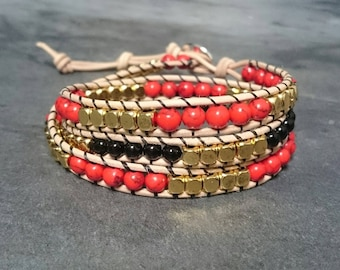 3 towers - howlite agate semi-precious stones and leather wrap bracelet