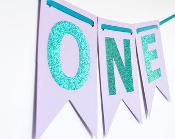 Purple and Aqua Year Banner, High Chair Banner, Birthday Banner, Photo Prop, First Birthday