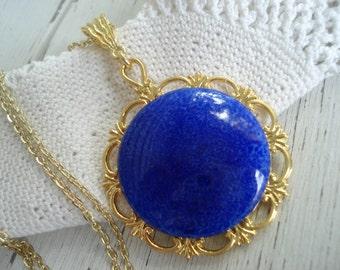 FINAL SALE Vintage Lapis Lazuli Glass Pendant Bold Gold Necklace