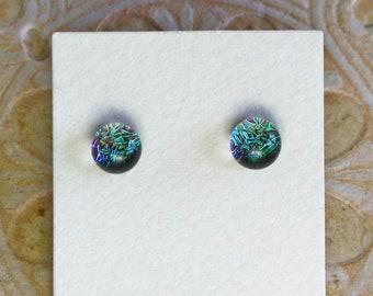 Dichroic Glass Earrings , Petite, Tarnished Bronze  DGE-1401