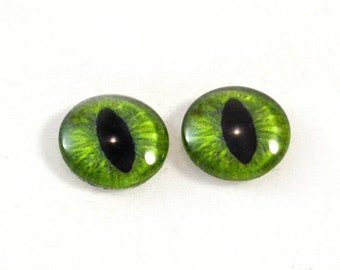 SALE 16mm Green Cat or Dragon Glass Eye Cabochons - Evil Eyes for Doll or Jewelry Making - Set of 2