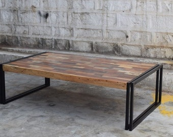 Reclaimed wood and iron coffee table