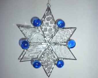 Hexagonal Ster stained glass suncatcher.Hexagon ster.