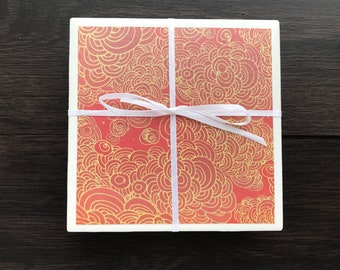 Tile Coasters, Red and Gold Cloud
