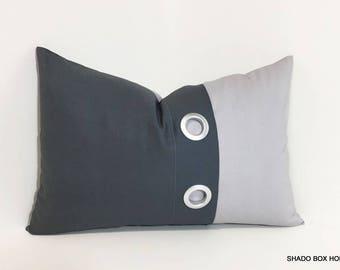 Gray colorblock lumbar pillow cover. 12x18 lumbar with Grommet pleat accent in charcoal and light grey. home decor lumbar pillow cover