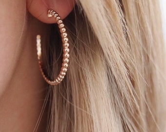 750 - gold plated earrings 18K gold plated hoop earrings