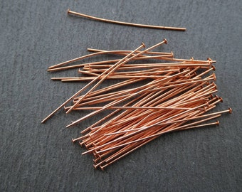 "50 pcs 22g genuine copper head pins - 1.5"" head pins -genuine copper findings"