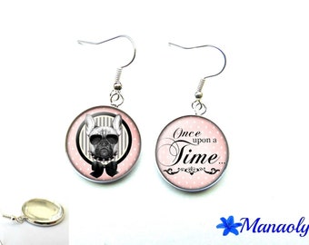 """These dog earrings, """"Once upon a time"""", 1515 glass cabochons"""