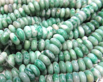 Agate Beads 8 X 4mm Natural Mint Green Tree Agate Smooth Rondelles -  8 inch Strand