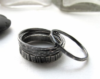 Belfry sterling silver stacking 5 ring set - made to order