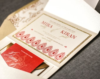 "Indian Wedding Invitations, Henna Wedding Invitations, Red and Gold Invitations, Modern Wedding Cards, Shaadi - ""Modern Henna"" PF-1L SAMPLE"