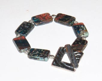 Red Green Blue Black Etched Picasso Lozenge Beads with Silver Bracelet