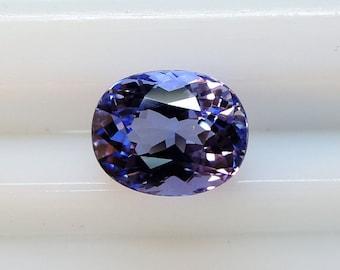 Portuguese oval cut tanzanite, purple Dichroism in blue, 1 36cts 5.8 x 7.2 mm
