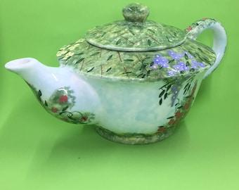 Flower Garden Teapot, Porcelain Hand Painted Teapot, Floral Teapot, Spring Green Flower Garden Teapot, Tea Party Decor, Tea Lover Gift