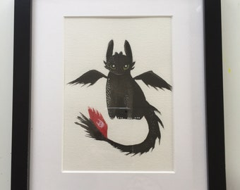 Dragon original watercolor framed
