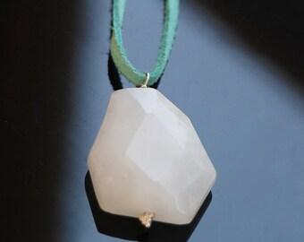 White Onyx necklace | Women's Onyx Pendant | White Pendant necklace | White Onyx Jewelry | White Gemstone Pendant | Onyx Stone necklace