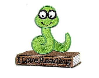 Bookworm - Reading - School - Book - Library - Embroidered Iron On Applique Patch