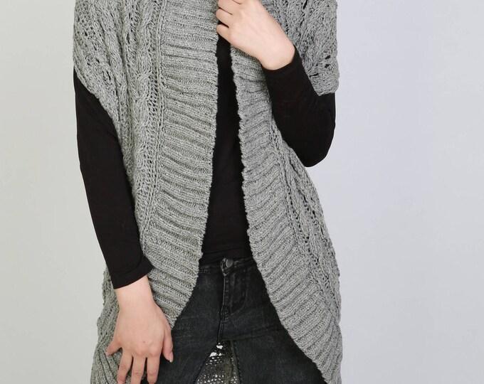 Hand knit long vest sweater Wool cadigan grey woman sweater