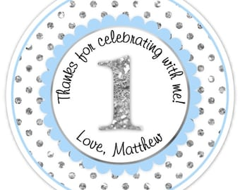 Custom 1st Birthday Labels, 1st Birthday Stickers -  Blue and Silver Glitter Polka Dots First Birthday, Personalized for you