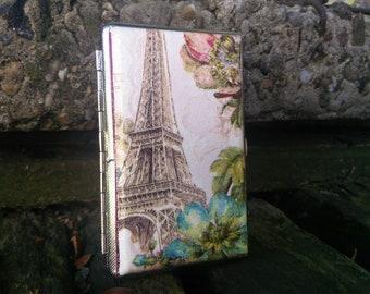 Eiffel Tower Slim Cigarette case, 100s cigarette holder, Paris Cigarette wallet, Decoupage, Business Card holder, Gift for her, Mothers day