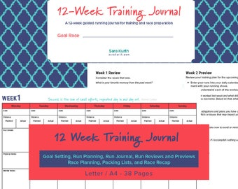 12 Week Running And Training Journal PRINTABLE with Race Planner, training journal for runners; Digital Download; Letter, A4; 38 pages