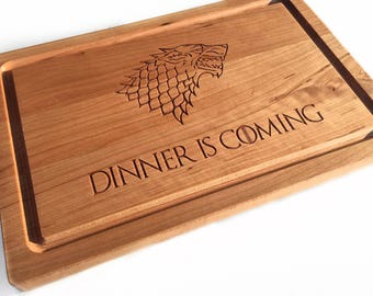 Custom Cutting Boards, Dinner is Coming Custom Engraved Chopping Block, Wooden Cutting Boards