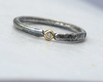 Rustic Diamond - Unique Engagement Ring with Small Diamond, Sterling Silver and 18k Gold, Conflict Free