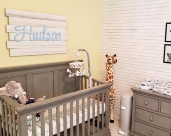Large Whitewashed Nursery wood sign, Nursery name sign, Nursery letters, Nursery decor, Rustic Nursery, Nursery sign, Nursery wood sign