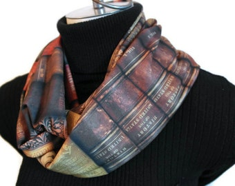 Book Scarf -  Infinity Scarf - Book Infinity Scarf - Lightweight Scarf - Summer Infinity Scarf - Women Infinity Scarf - Book Lovers Clothing
