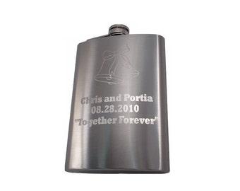8oz. Custom Engraved Stainless Steel Flasks