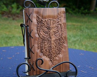Customizable Wood and Leather Bound Blank Journal - Owl