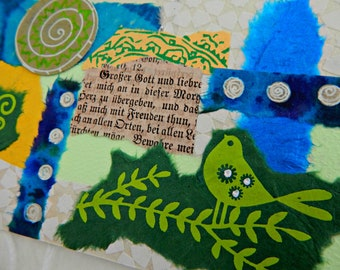Original Collage Card Gift, Blank Note Card, Bird,Abstract Mixed Media Art Card, Gift Card, Original Art Collage Card