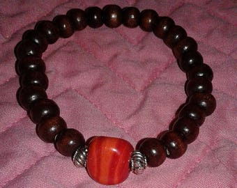 Zen Red/Orange Chakra Brown Wood Unisex Bracelet