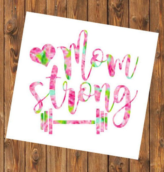 Free Shipping-Mom Strong Barbell Parenthood, Yeti Rambler Decal, Yeti Cooler, Laptop Sticker,Lilly Pulitzer,Weight Loss, 21 Day Fix
