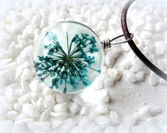 Necklace Dillblüte Flower Turquoise glass pendant Beads