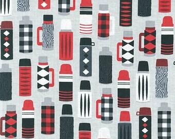 Burly Beavers Thermos Steel Grey Robert Kaufman Fabric, Choose your cut