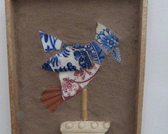 Original whimsical mosaic bird wall hanging
