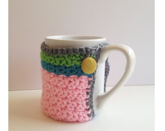 Striped Mug Cozy With Vintage Fabric Button