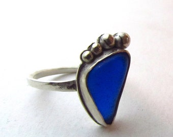 Blue Sea Glass Sterling Silver Ring
