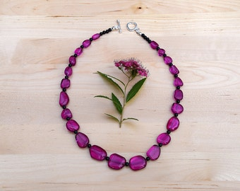 Deep Pink Quartz Nugget Necklace with Black Onyx