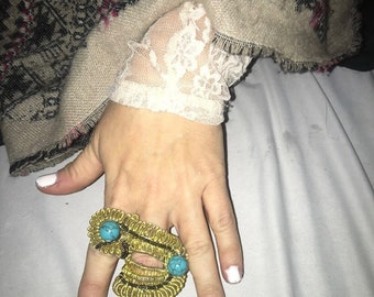 Heady Torquise and gold ring
