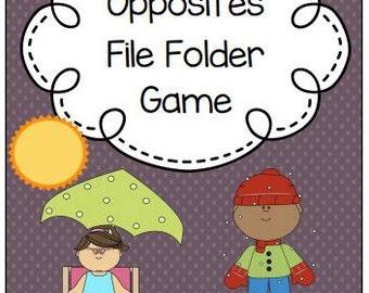 Opposites File Folder Game