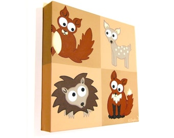 Cute Woodland Animals acrylic painting - original artwork of a red squirrel, fawn deer, hedgehog and red fox, nursery art on square canvas